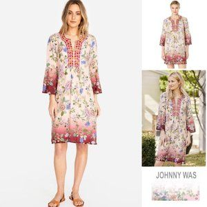 Johnny Was Floral Embroidered Flare Sleeve Dress